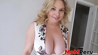 Mommy deepthroats rock solid cock and receives cum in mouth POV