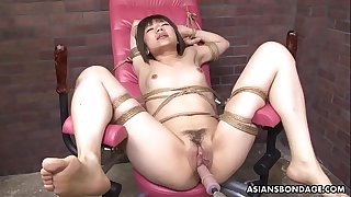 Roped up Japanese pornographic star Shiori Natsumi ravaged with sex playthings