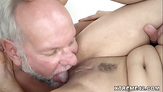 Fresh pussy filled with Grandpa shaft